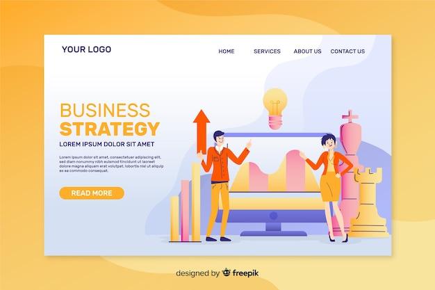 Projeto liso do molde da página de aterrissagem da estratégia empresarial