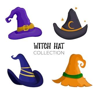 Projeto liso do vetor da coleção do chapéu de bruxa