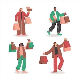Projeto liso outono pessoas liquidação compras