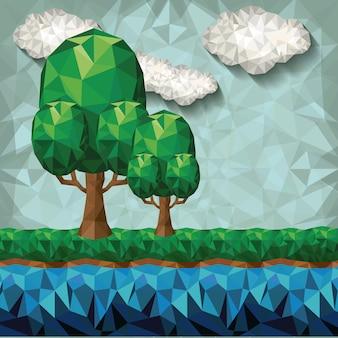 Projeto low poly da paisagem