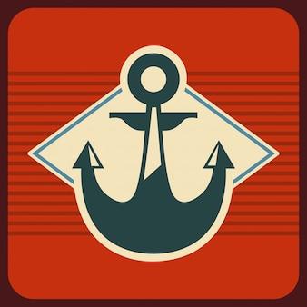 Projeto marinho sobre ilustração vetorial de fundo vermelho