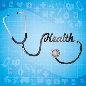 Projeto médico sobre fundo azul