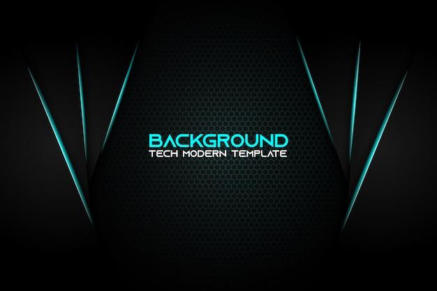 Projeto metálico moderno abstrato da tecnologia do fundo do preto azul