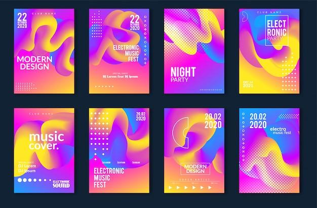 Projeto mínimo do cartaz do festival de música eletrônica. fundo moderno colorido linhas pontilhadas para flyer, capa. ilustração vetorial