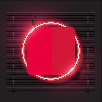 Projeto moderno da bandeira do vetor de néon. modelo vermelho arredondado.