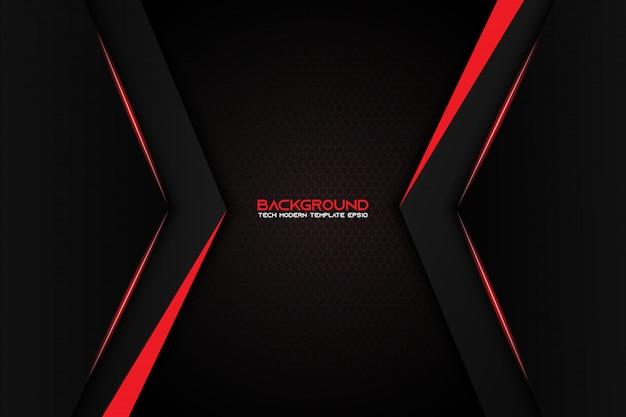 Projeto moderno da tecnologia do fundo preto vermelho metálico abstrato