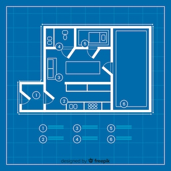 Projeto moderno de casa blueprint