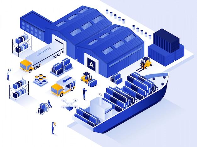 Projeto moderno de ilustração isométrica - armazém e logística