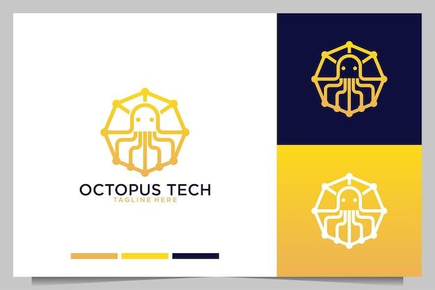 Projeto moderno do logotipo da arte da linha da tecnologia octopus