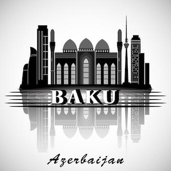 Projeto moderno do skyline da cidade de baku. azerbaijão.