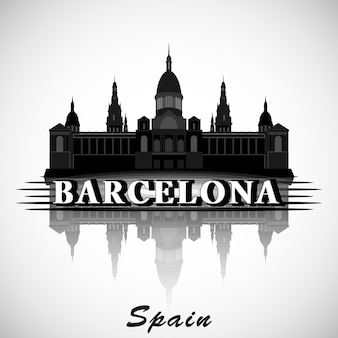 Projeto moderno do skyline da cidade de barcelona. espanha.