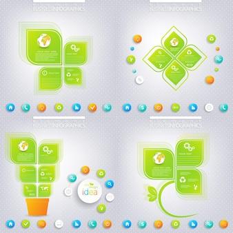 Projeto moderno infográfico verde com lugar para o seu texto. conceito de negócios 3, 4 opções