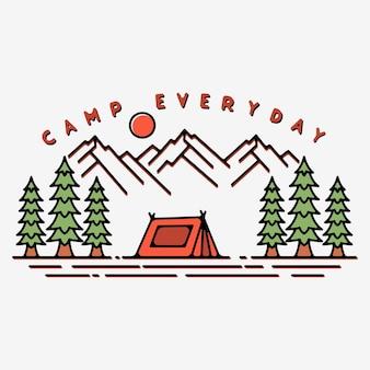 Projeto monoline do acampamento diário