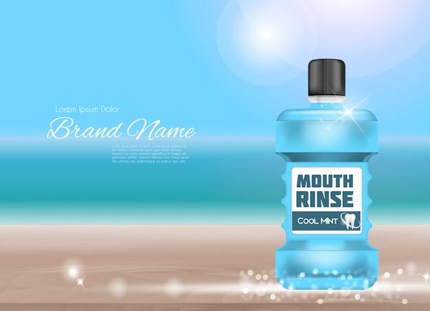 Projeto mouthwash produto 3d realistic illustration