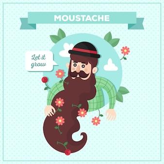 Projeto movember com homem com barba longa