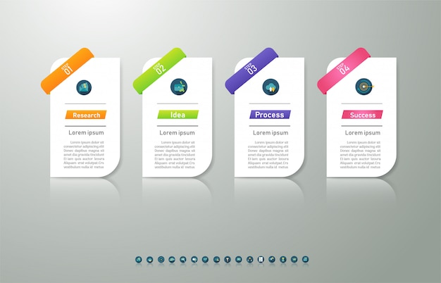 Projeto negócios modelo 4 opções ou etapas infográfico elemento gráfico.
