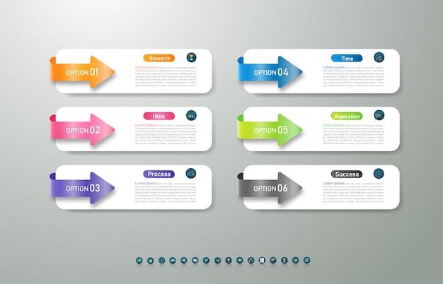 Projeto negócios modelo 6 opções ou etapas infográfico elemento gráfico.