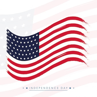 Projeto ondulado da bandeira americana para o 4 de julho, celebração do dia da independência.