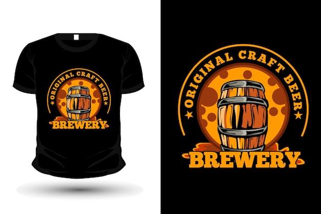 Projeto original da maquete da camiseta da ilustração da cervejaria artesanal