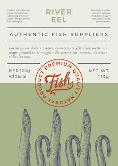 Projeto ou rótulo abstrato de embalagem de peixes de rio