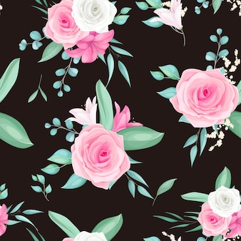 Projeto padrão sem emenda com linda flor rosa e lírio