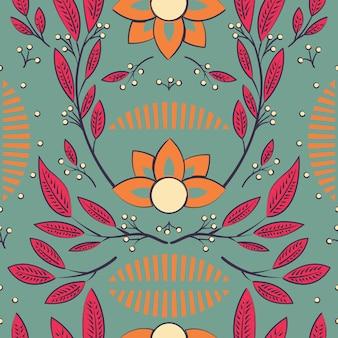 Projeto padrão sem emenda com mão desenhada flores e elementos florais
