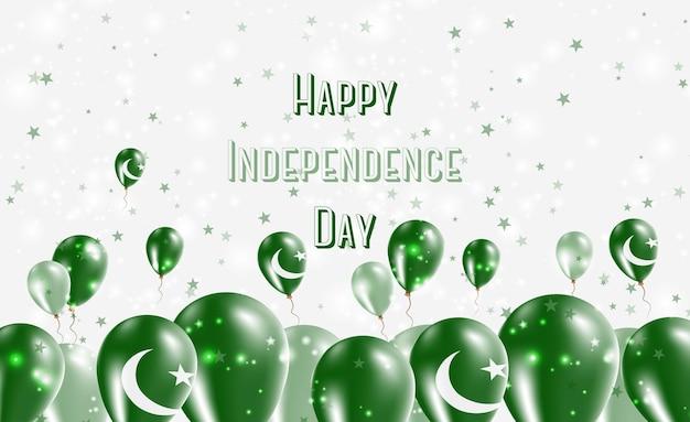 Projeto patriótico do dia da independência do paquistão. balões nas cores nacionais do paquistão. cartão de vetor feliz dia da independência.