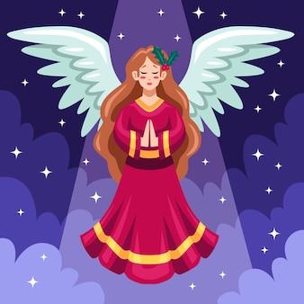 Projeto plano anjo de natal com nuvens