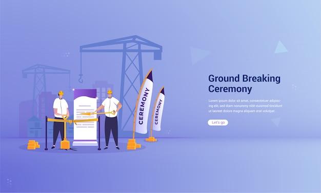 Projeto plano de cerimônia de inauguração no conceito de ilustração