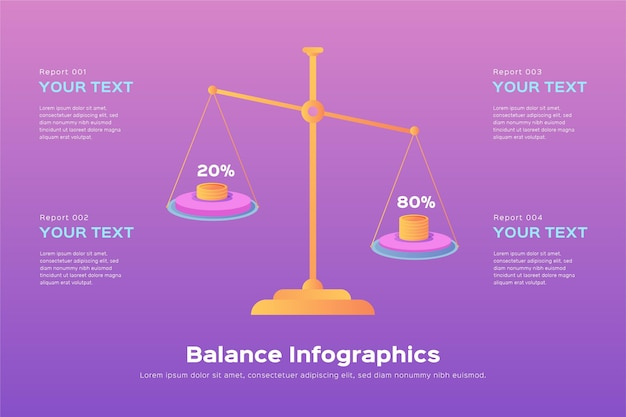 Projeto plano de infográficos de equilíbrio ilustrados