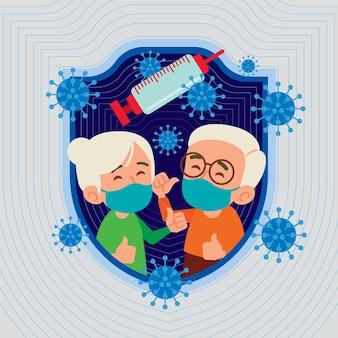 Projeto plano de um casal de idosos usando máscara facial com seringa e vírus flutuando no ar