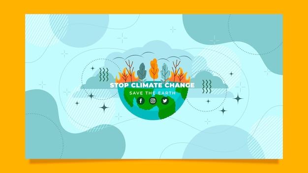 Projeto plano desenhado à mão arte do canal do youtube sobre mudança climática