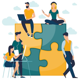 Projeto plano quebra-cabeça negócios equipe trabalho conceito fluxo de trabalho gerenciamento investidor crescendo dinheiro abstrato