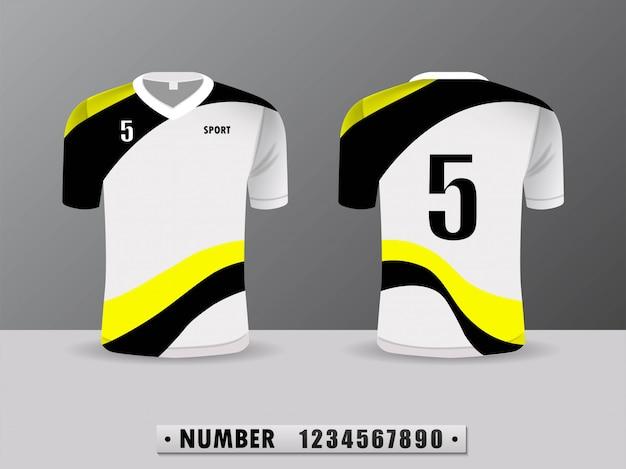 Projeto preto e amarelo do esporte do t-shirt do clube do futebol.