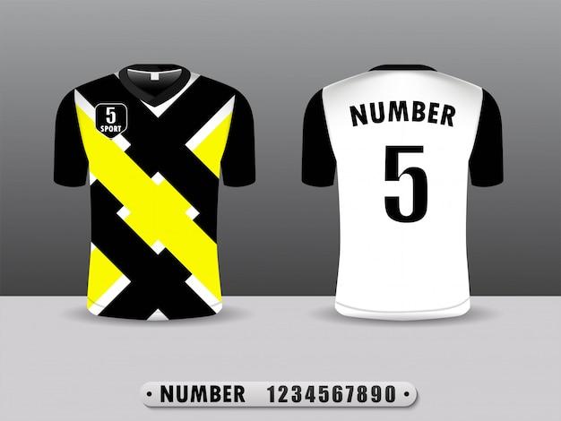 Projeto preto e amarelo do esporte do t-shirt. Vetor Premium