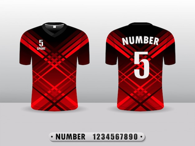 Projeto preto e vermelho do esporte do t-shirt do clube do futebol.