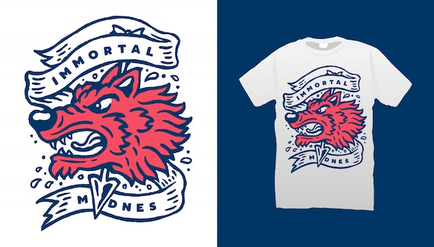Projeto principal do tshirt da ilustração do lobo