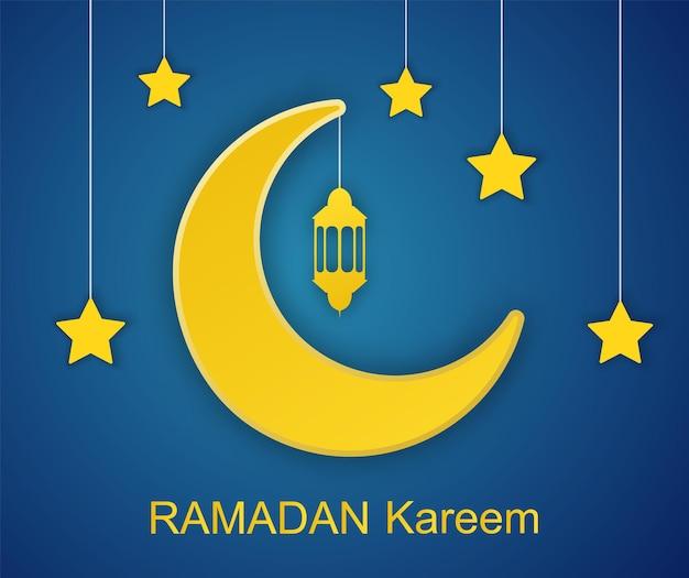 Projeto ramadan kareem com corte de papel 3d