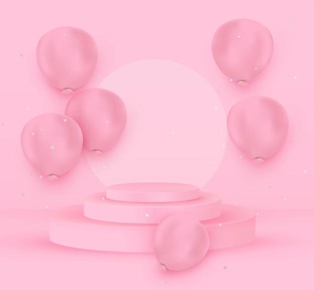 Projeto realista de balões de fundo para o dia internacional da mulher