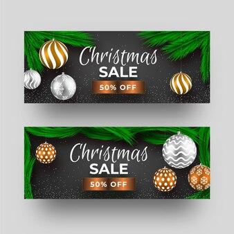 Projeto realista de banners de venda de natal
