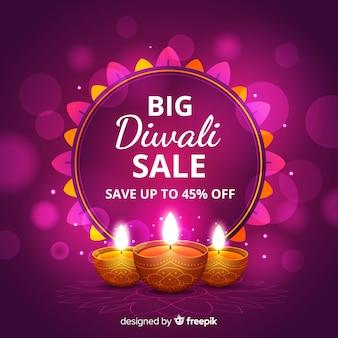 Projeto realista de grande venda de diwali