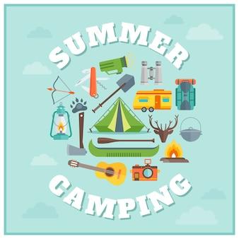 Projeto redondo de acampamento de verão