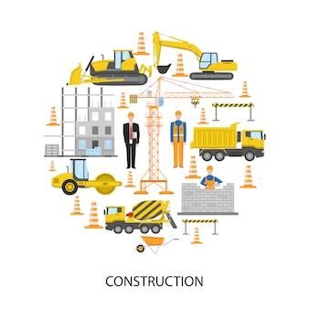 Projeto redondo de construção com pessoal masculino, sistema de barreira para alvenaria de equipamentos de construção