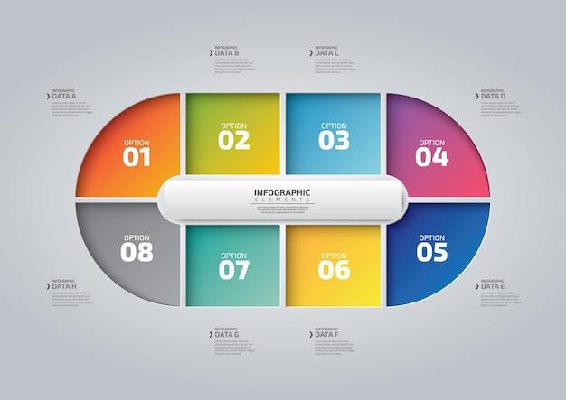 Projeto redondo de infográfico com 8 opções ou etapas de infográficos para o conceito de negócio