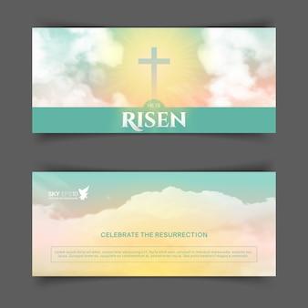Projeto religioso cristão para a celebração da páscoa. folheto horizontal estreito