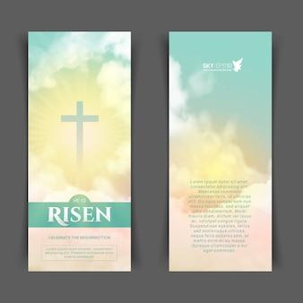 Projeto religioso cristão para a celebração da páscoa. folheto vertical estreito