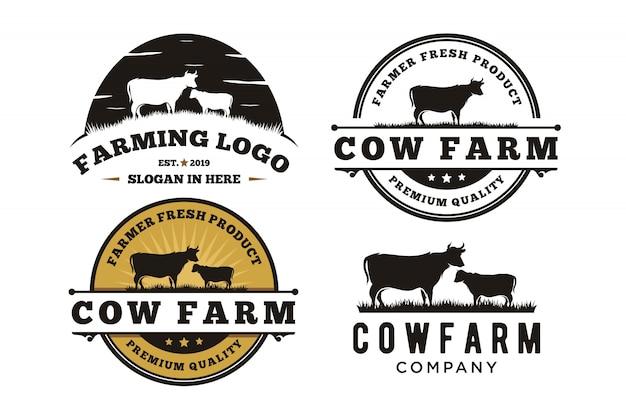 Projeto retro do logotipo do emblema da etiqueta da carne do gado do vintage