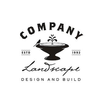 Projeto retro do logotipo do jardim da fonte do vintage