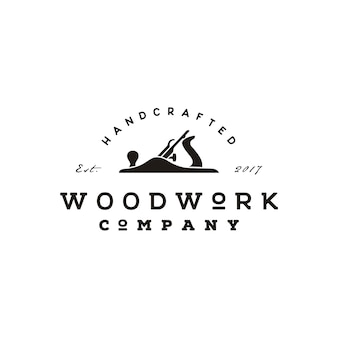 Projeto retro do logotipo do woodworking do plano de jack do vintage