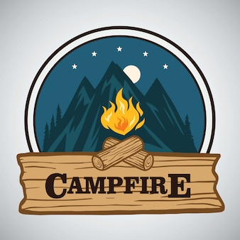 Projeto retro redondo da ilustração do logotipo da aventura da montanha da fogueira. modelo para o acampamento, atividade de férias de aventura.